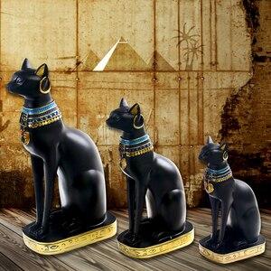 Egipska bogini Bastet koty figurka kolekcjonerska statua dekoracje do domowego biura posąg z żywicy Vintage bogini figurka Home Decor prezent