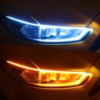 Luces LED de circulación diurna para coche, 2 uds., tira Flexible e impermeable, intermitente, color blanco, amarillo, 12V