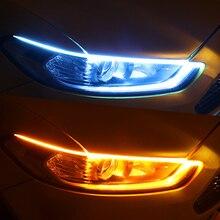 2pcs LED DRL Car Daytime Running Light Flexible Waterproof Strip Auto Headlights White Turn Signal Yellow Brake Flow Lights 12V