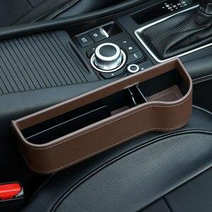 Image 5 - Caja de almacenamiento organizador de coche para espacio de asiento PU Case bolsillo hendidura lateral de coche para billetera teléfono monedas llaves de cigarrillos, soporte para tarjetas Universal