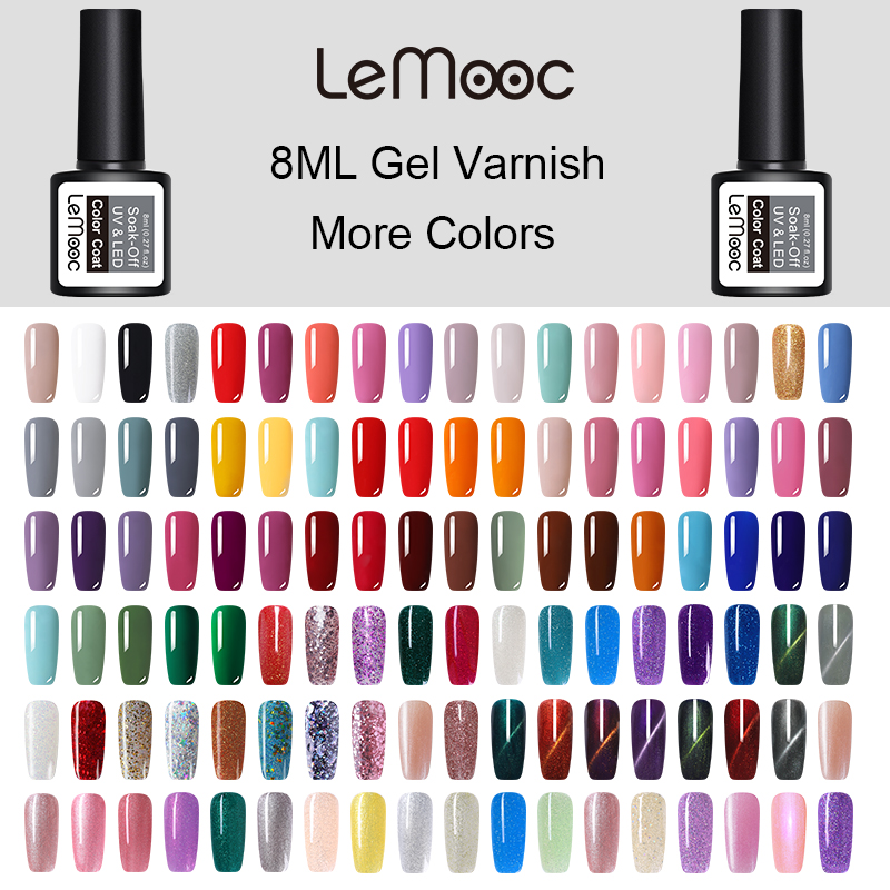 LEMOOC Gel Nail Polish Gel Varnish Paint Semi Permanent Nails Art Gel Nail Polish For Manicure Gellak Top Coat Hybrid Lacquer