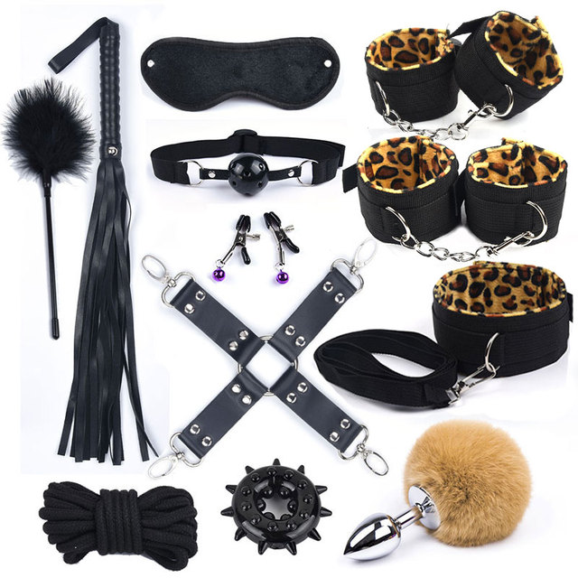Fox Tail Sex Toys for Women Men Nylon BDSM Sex Bondage Set Sexy Lingerie Handcuffs Whip Rope Anal Plug SM Products Adults Games