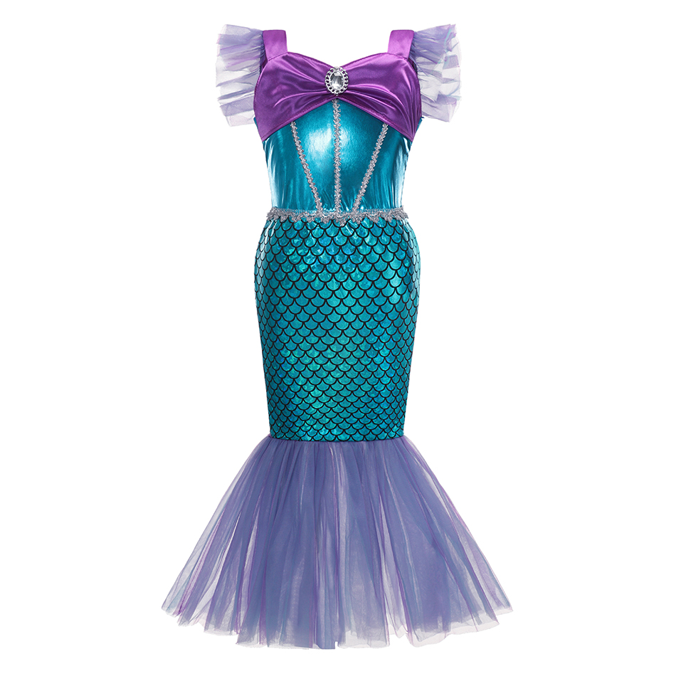 Layered Princess Mermaid Dress up Girl Party Costume Scales Print Gown Kids Milk Silk Clothes and Jewelry Grils Aril Fancy Dress 6