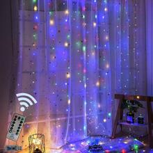 3M LED USB Power Remote Control Curtain Fairy Lights Christmas Garland String Party Garden Home Wedding Decor