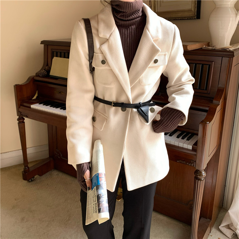 HziriP New Vintage Office Ladies Solid Corduroy Blazer Jacket Long Sleeve Loose Suit Coat Jacket Women Blazers Female With Belt