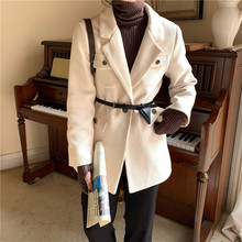 HziriP New Vintage Office Ladies Solid Corduroy Blazer Jacket Long Sleeve Loose