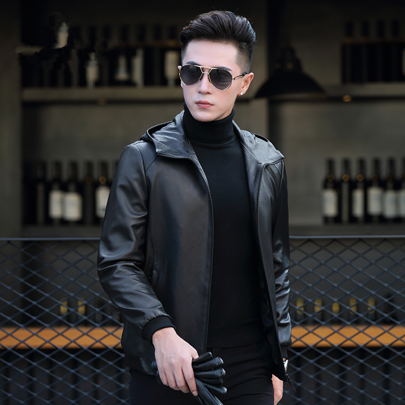 Genuine Leather Jacket Men Clothes Mens Goatskin Coats Autumn Motorcycle Short Jackets Chaqueta Cuero P-CJ17358 ZL958