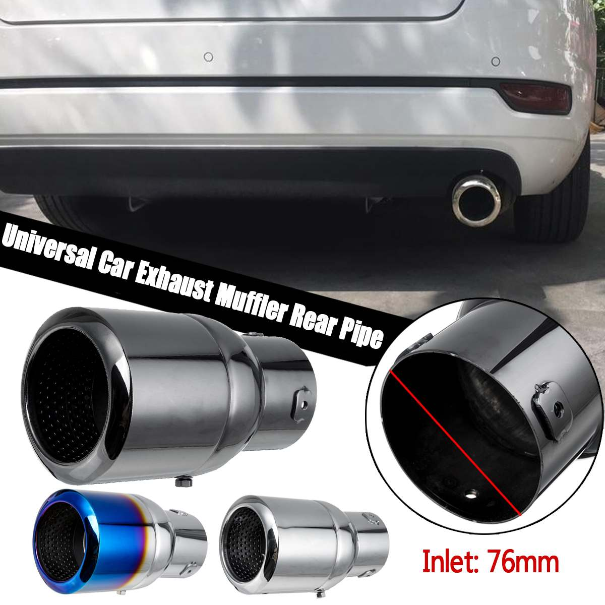 For Universal Car Akrapovic Style Carbon Fiber Exhaust Muffler Pipe Tip 60-76mm
