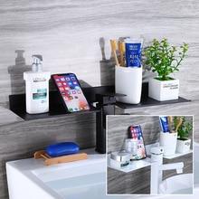 Черно-белого цвета с милым рисунком кота Ванная комната кран подвесная полочка перед зеркалом аллюминиевый белая сантехника u-образной формы для хранения домашних кондиционеров воздуха