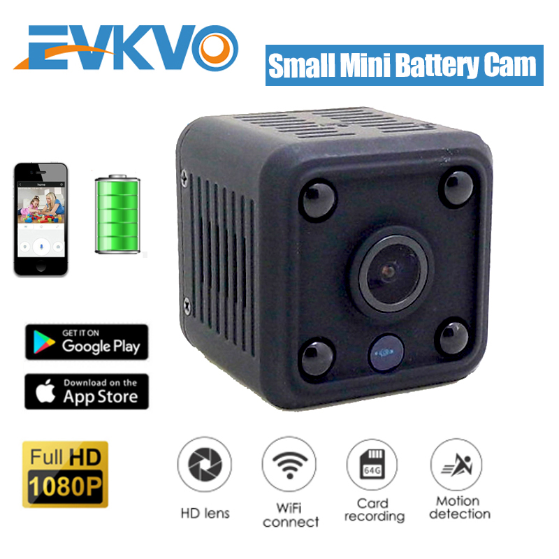 EVKVO HD 1080P Mini WiFi IP Camera Built-in Battery CCTV Wireless Security HD Surveillance Micro Cam Night Vision Home Monitor