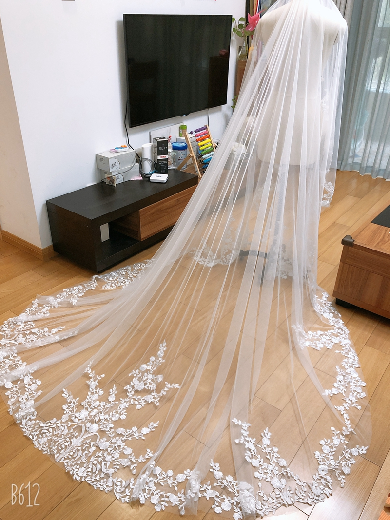 New 2 Layer Cover The Face Bridal Veil 1M 3M White/Ivory Wedding Veil Mantilla Wedding Accessories Veu De Noiva EE006