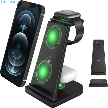 3 in 1 wireless charging stand for apple watch 4 3 airpods charging dock station qi 10w fast charger for iphone 11 x xs max xr 8 FDGAO 15W Fast 3 in 1 QI Wireless Charger Stand For Apple Watch 6 SE 5 4 3 iPhone 12 11 XS XR Airpods Pro Charging Dock Station