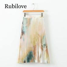 Rubilove European Style Summer Skirts Womens Tie-dye Printed Pleated Skirt Lady Elastic High Waist  Midi