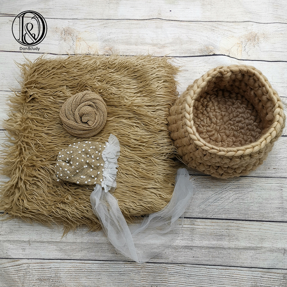 Don&Judy 4pcs/set 150x100cm Fur Blanket + Basket Nest + Hat + Wrap Photography Prop Newborn Background Backdrop Photo Shoot