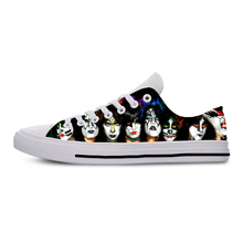 Gifts From Kiss Band Music Fans Casual Custom Printed Shoes Youth Solid Color Dropshipping White Shoes