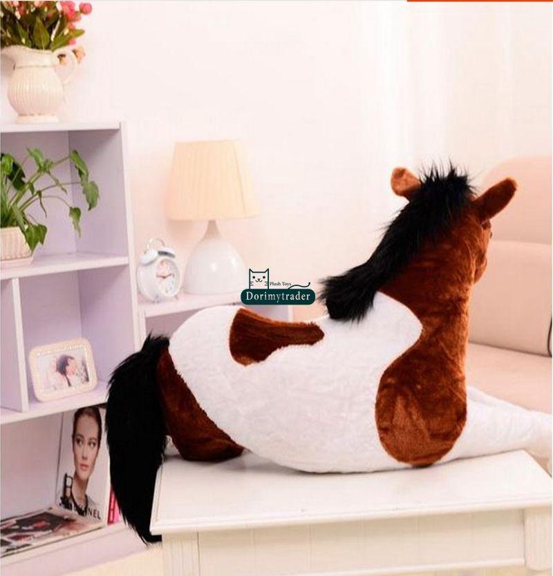 130cm X 60cm géant doux cheval en peluche émulationnel animaux en peluche jouets poupée cadeau mignon en peluche jouets point - 3