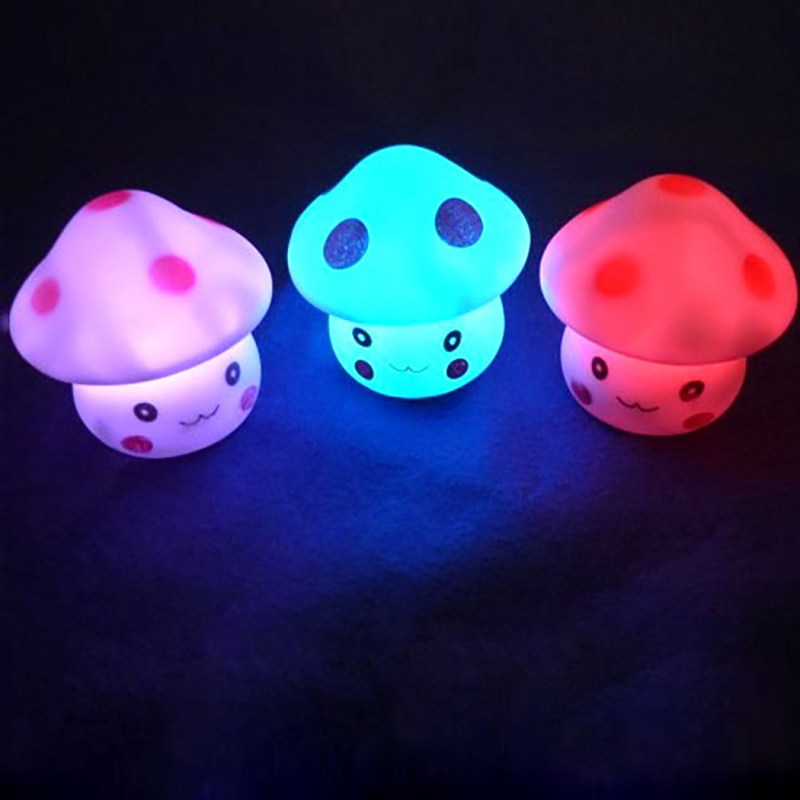 Dozzlor LED Colorful Night Light Mushroom Shape Multiple Colors Automatic Changing LED Lamp