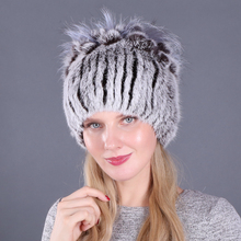 New Russia Women Real Rabbit Fur Hats Knitted Striped Lady 100% Genuine Beanies Hat Winter Warm Flowers Caps