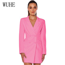 WUHE Female Autumn Blazer Women New Casual Double Breasted Pocket Long Jackets Elegant Sleeve Outerwear