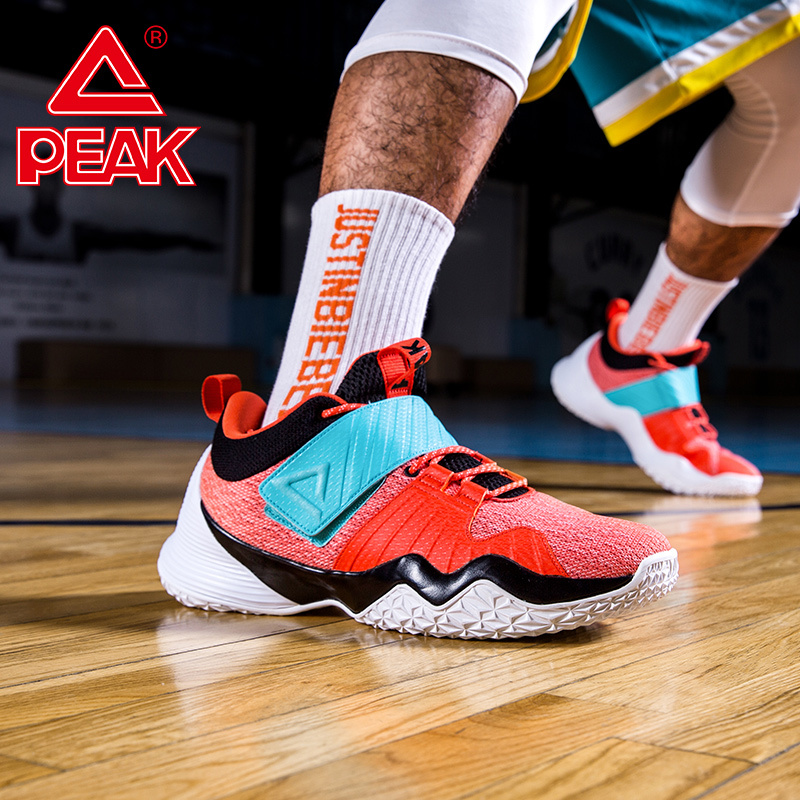 PEAK Men's Basketball Shoes Hit Color Non-slip Wear-resistant Sneakers Breathable Rebound Basketball Shoes Cement Floor Boots