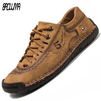 Мужская повседневная обувь, мужские кожаные зимние мужские ботинки, водонепроницаемые дышащие мокасины, дизайнерская стильная обувь для п...