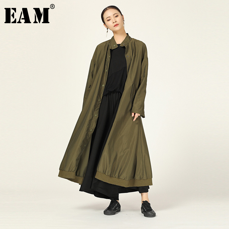 [EAM] Women Pocket Big Size   Trench   New Stand Collar Long Sleeve Loose Fit Windbreaker Fashion Tide Autumn Winter 2019 1A713