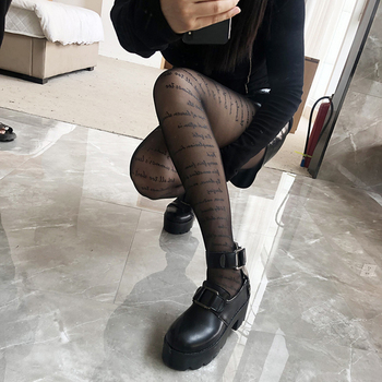 Sexy Transparent Brand Letter Tights Newest Fashion Women Stocking Print Pantyhose High Elastic Hollow Out Stocking