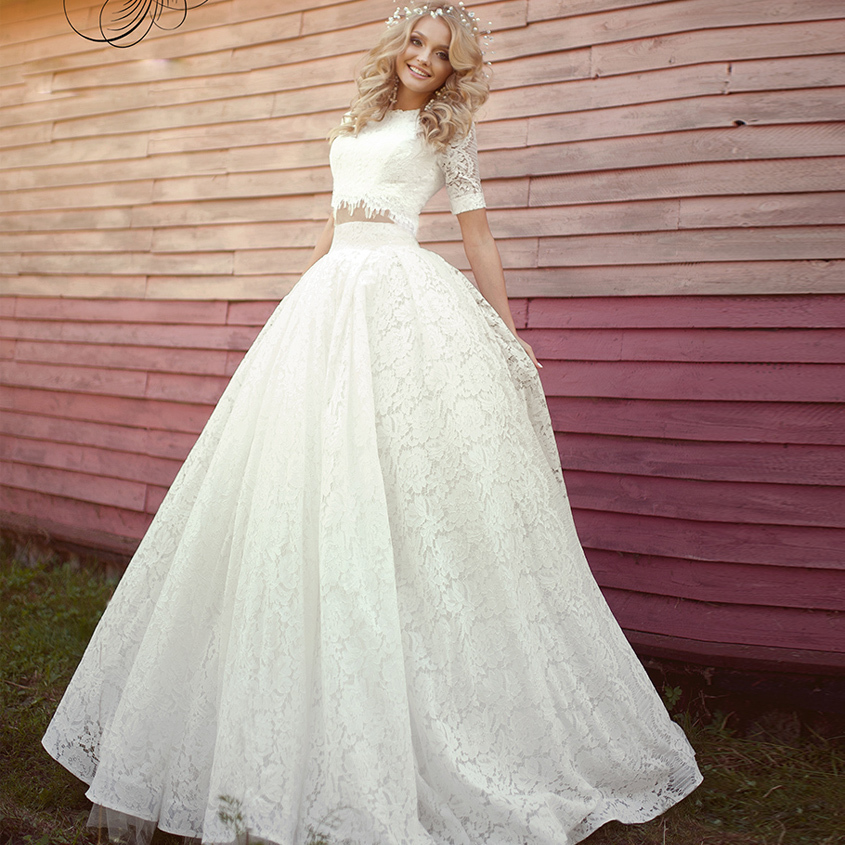 Vestido De Noiva Robe De Mariee 2018 Elegant Two Pieces Short Sleeve Summer Lace Boho Bridal Gown Mother Of The Bride Dresses