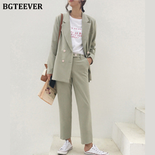 BGTEEVER Vintage Light Green Women Suits Double Breasted Female Pant Su
