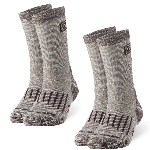 2 Pairs Merino Wool Socks, ZEALWOOD Unisex Hiking Trekking Crew Socks Thermal Warm Winter Socks