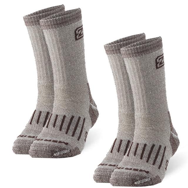2 Pairs Merino Wool Socks, ZEALWOOD Unisex Hiking Trekking Crew Socks Thermal Warm Winter Socks