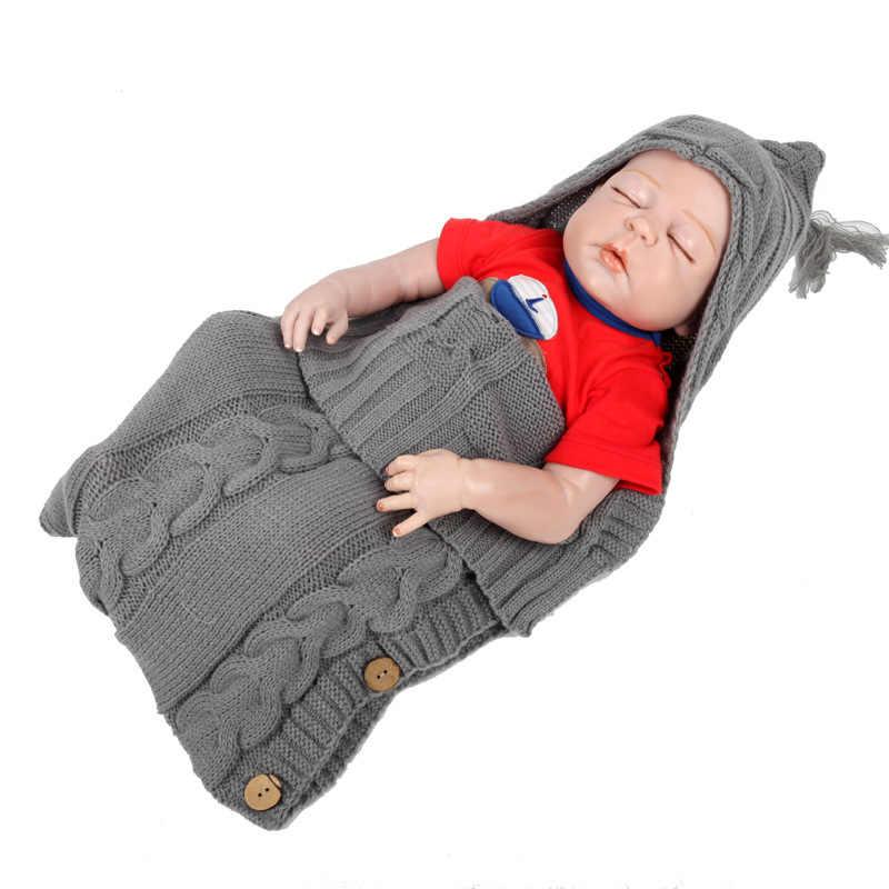 Noworodek pieluszki wózek Wrap zimowe ciepłe śpiwory niemowlę przycisk dzianiny owijka dla niemowląt maluch koc śpiwory