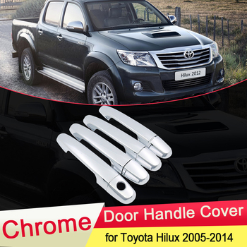 for Toyota Hilux AN10 AN20 AN30 SR5 2005~2014 Chrome Door Handle Cover Trim Luxuriou Catch Cap Car Set Styling Accessories ABS image