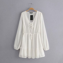 Sexy Lace up Chiffon Dress Women's Casual white Embroidered Dress Fashion Slim A-Line Casual Long Puff Sleeve Dress Dresses цены