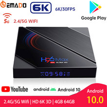 Lemado H96 Max H616 ТВ Box Android 10 Quad-Core 6K H.265 4 Гб Оперативная память 64 Гб Встроенная память Wi-Fi 2,4G & 5G Смарт Android ТВ коробка Youtube Netflix