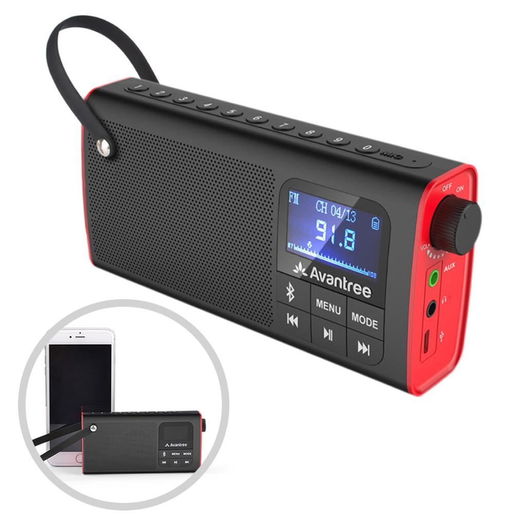 sp 850 - Avantree 3-in-1 Portable FM Radio with Bluetooth Speaker and SD Card Player, Auto Scan Save, LED display, Wireless Speaker