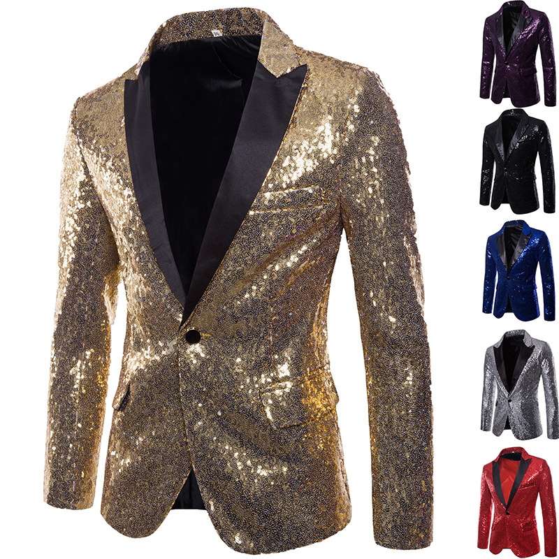 Fashion Formal Performance Costume Gold Sequin Top Suit Nightclub Clothing Men Slim Fit Blazer Shiny Mens Suit Blazer Plus Size