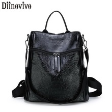 DIINOVIVO Retro Alligator Leather Backpack Female Large Capacity Backpacks Shoulder School Bags Women Travel Bagpack WHDV1309 women genuine real cow leather backpack shoulder bag crocodile alligator school book travel daily casual punk rock vintage retro