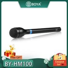 BOYA BY-HM100 Microphone Omni-Directional Wireless Handheld Dynamic XLR Long Handle for ENG Interviews News Gathering