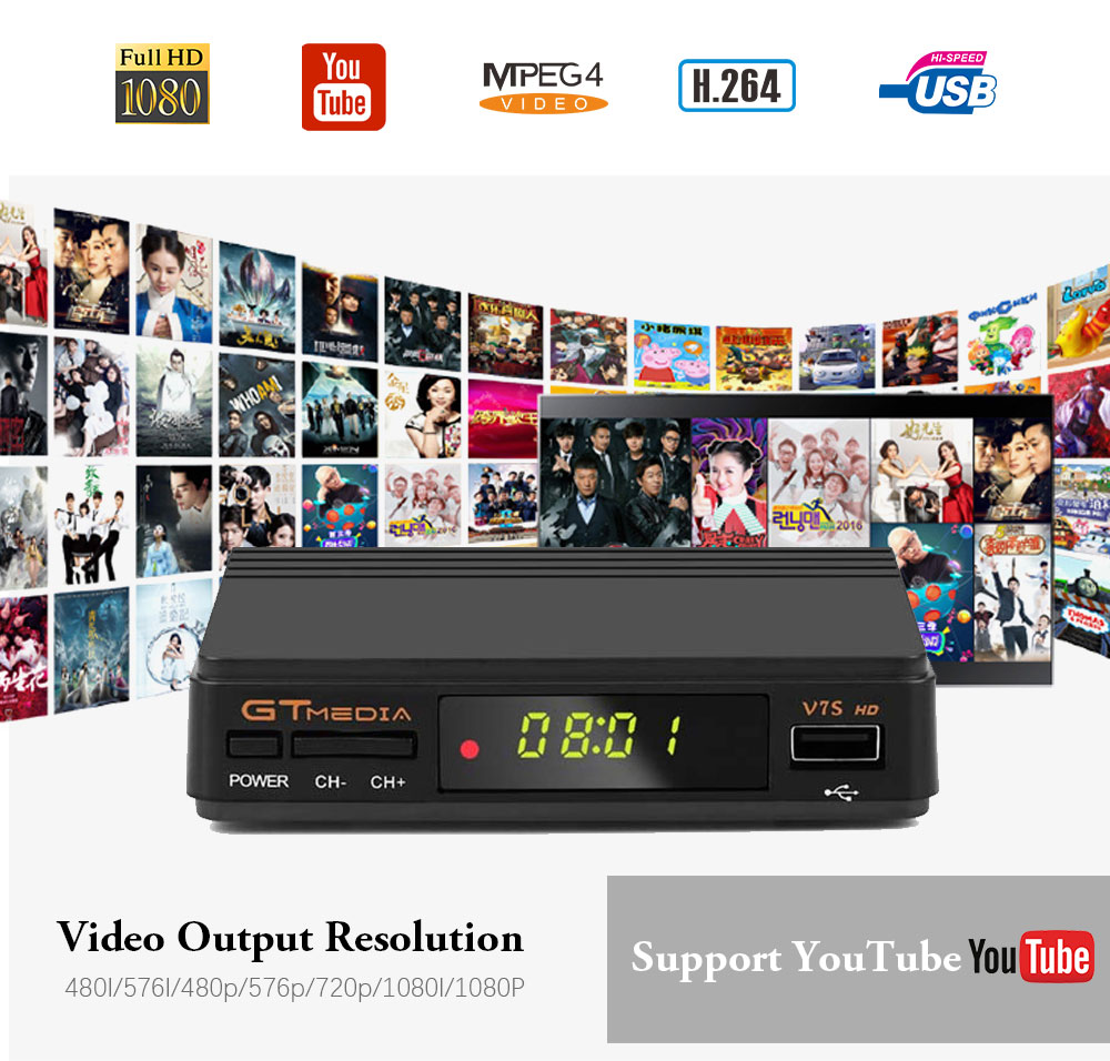 Image 5 - Hot DVB S2 gtmedia v7s hd With USB WIFI FTA TV Receiver V7 hd power +2 Year Europe lines Spain PT DE PO CCcam Powervu TV decoder-in Satellite TV Receiver from Consumer Electronics