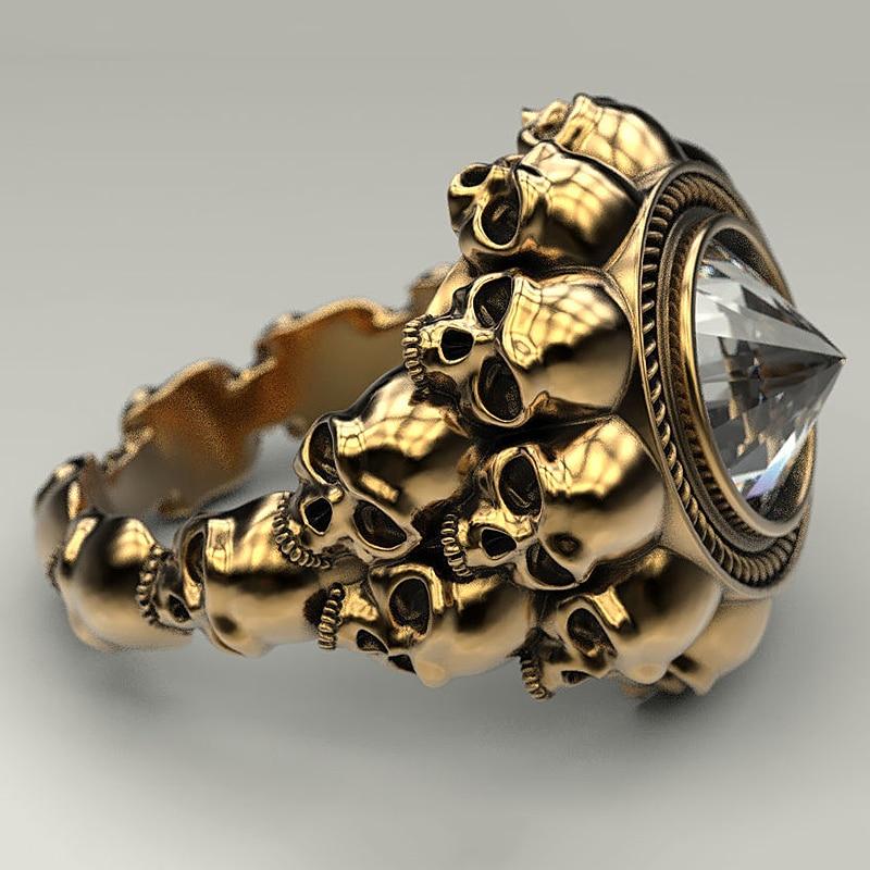 Red /& Black Skeleton Skull Ring Punk Jewelry Unique Women Girls Fashion Rings