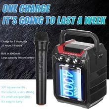 Enceinte bluetooth TWS, haut-parleur sans fil, haut-parleur de grande taille, pour dj, karaoké, audio professionnel, avec micro, Radio FM,TF, rétro