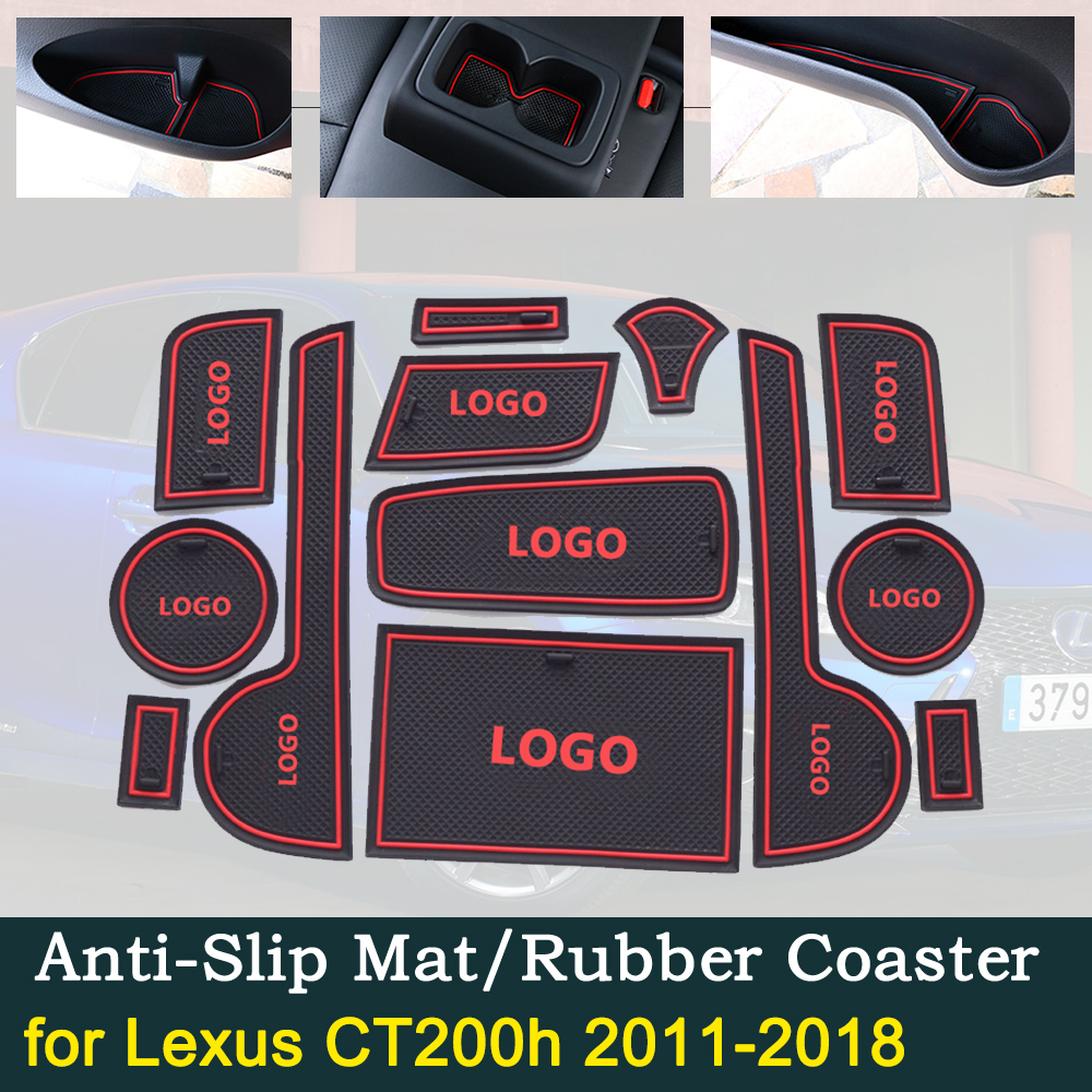 Anti-slip Door Rubber Cup Cushion For Lexus CT200h 2011~2018 2014 2015 2016 2017 A10 For Lexus CT 200h Groove Mat Accessories