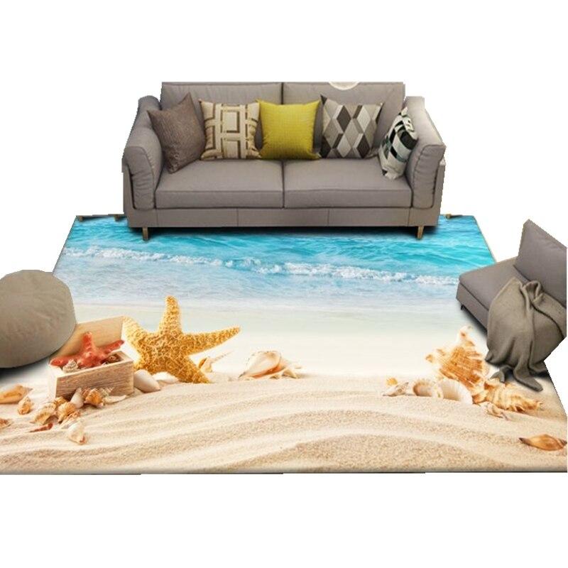 Beach Scenery Carpet Children's Room Wall to Wall Bed Blanket Style Living Room cha ji tan Bedroom Tatami Floor Mat - 2