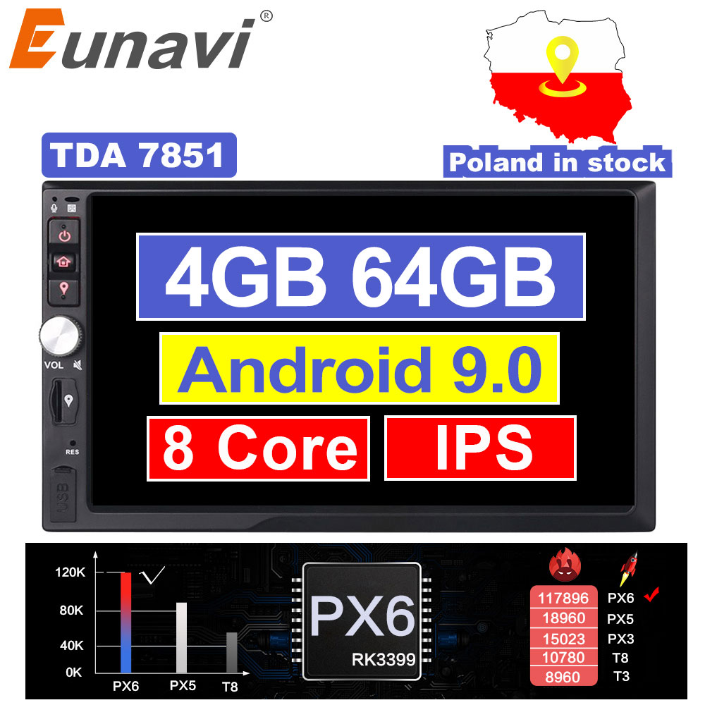 Eunavi <font><b>2</b></font> Din 7 ''Octa core Universal <font><b>Android</b></font> 9.0 4GB RAM Auto Radio Stereo GPS Navigation WiFi 1024*600 Touchscreen 2din KEINE DVD image