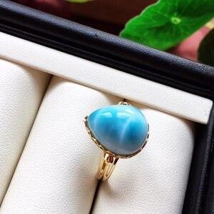 Image 2 - Anel ajustável de cristal do ouro 18k da forma 19x16x13mm aaaaa certificado natural anel de larimar azul para a festa de aniversário da mulher