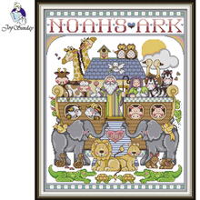 Joy Sunday,Noah's Ark,cross stitch embroidery,Cartoon cross stitch pattern,cross stitch needlework,Animal pattern cross stitch цены