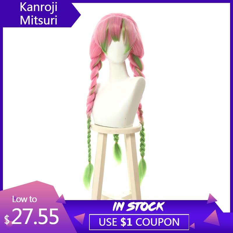 L-e-mail Kanroji Mitsuri Cosplay Perucas peruca Demônio Assassino Kimetsu não Yaiba Longo Rosa Mix Verde Peruca Trança Sintética perucas de cabelo