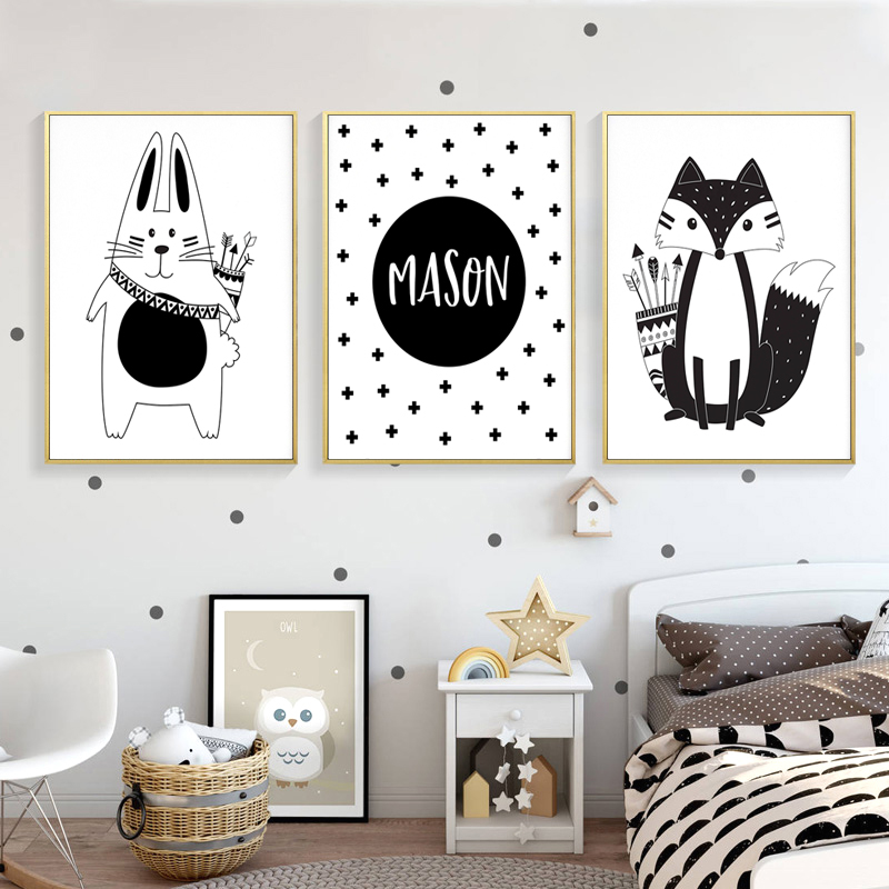 Black White Rabbit Nursery Wall Art Print Custom Name Canvas Poster Nordic Kid Bedroom Painting Decorative Picture Home Decor