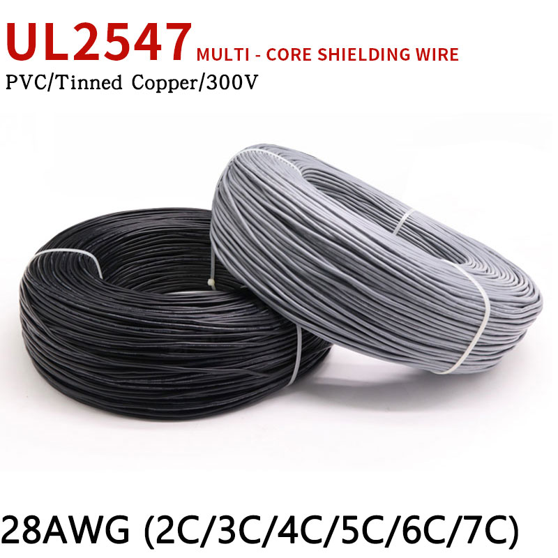 2//3//4//5-Cores UL2547 Shielded Wire Audio Headphone Signal Cable 22//24//26//28AWG